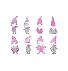 Set of cute cartoon gnomes funny elves hand vector