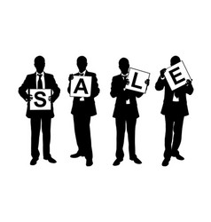 silhouettes of men holding sale sign vector image vector image