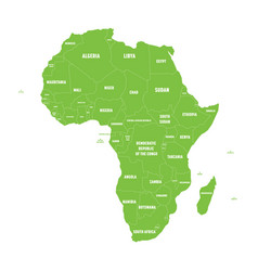 Simple flat green map of africa continent with vector