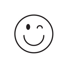 Smiling cartoon face wink positive people emotion vector