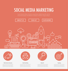 social media marketing landing vector image