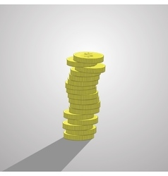 stack of dollar coins isolate vector image vector image
