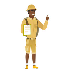 Traveler with clipboard giving thumb up vector