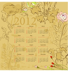 vintage template for calendar 2012 with flowers vector image