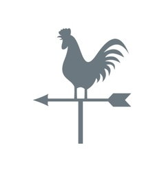 White weather vane with cock icon flat style vector