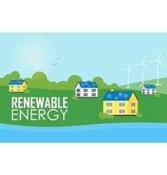 Renewable energy eco settlement near river vector