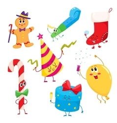 Set of cute and funny christmas birthday holiday vector