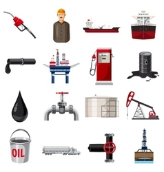 Oil production icons set cartoon style vector