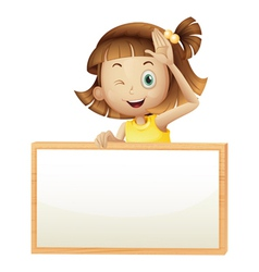 A girl blinking her eye holding an empty board vector