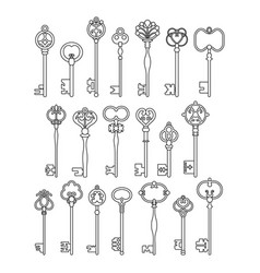 Vintage antique keys linear silhouettes isolated vector
