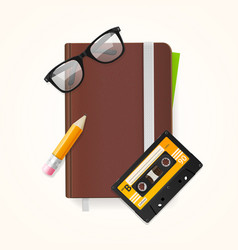 Notebook and glasses hipster style concept vector