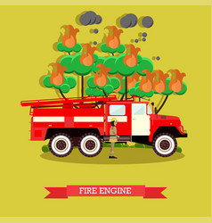 Fire engine in flat style vector