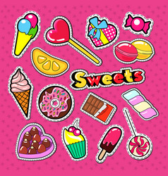 Sweet food stickers badges and patches vector
