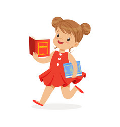 beautiful girl in red dress running and reading a vector image