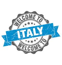 Italy round ribbon seal vector