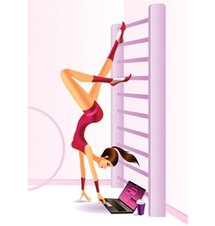 Sporty fashion model with laptop vector