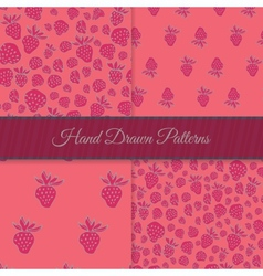 Pink strawberry pattern set vector