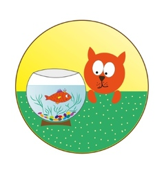 Cat watching fish in an aquarium vector