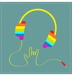 Rainbow headphones with cord rock and roll vector