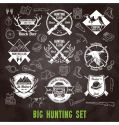 Hunting chalkboard set vector