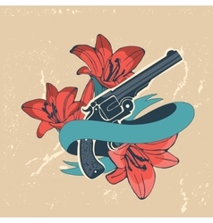 Classic revolvers and lilly flowers emblem vector image