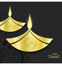Design of burning diwali diya vector