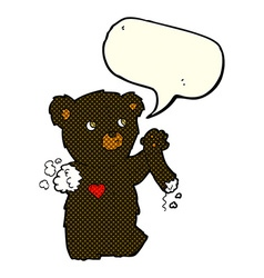 Cartoon teddy black bear with torn arm with speech vector