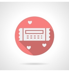 Round pink romantic coupon flat icon vector