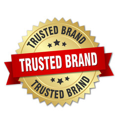 Trusted brand 3d gold badge with red ribbon vector