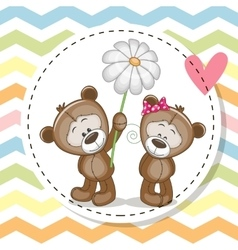 Greeting card with two teddy bears vector