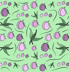 Cherry plum fruit pattern from plum with leaf card vector