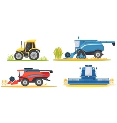 Farming agricultural machines and farm vehicles vector