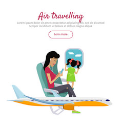 Air travelling conceptual banner design vector