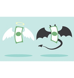 Angel money and devil money vector