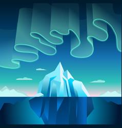 aurora borealis and iceberg vector image vector image