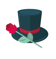 Black top hat and rose isolated on white man tile vector