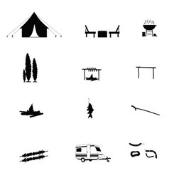 Camping in nature icon black vector