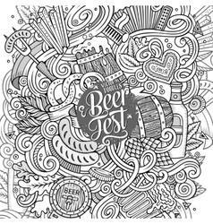 Cartoon cute doodles hand drawn beer frame design vector