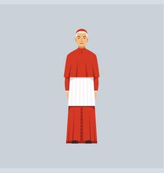Catholic cardinal in red robe representative of vector