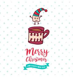 christmas and new year cute marshmallow cartoon vector image vector image