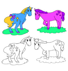 coloring fantastic horses vector image vector image
