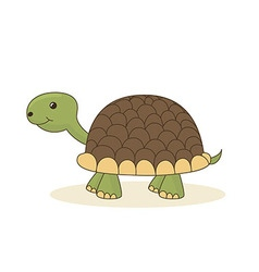 Cute cartoon turtle isolated on white background vector