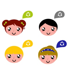 cute recycle kids vector image vector image