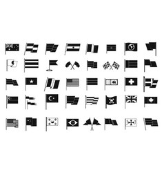 flag icon set simple style vector image