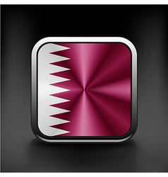 Flag of Qatar as round glossy icon Button with vector image