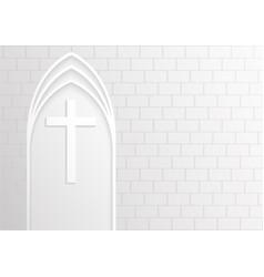 good friday white cross on white brick background vector image