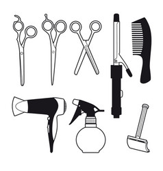 hand drawn barber accessories set vector image