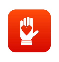 hand with heart icon digital red vector image