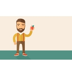 Happy man holding a red apple vector image