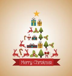 happy merry christmas design vector image vector image